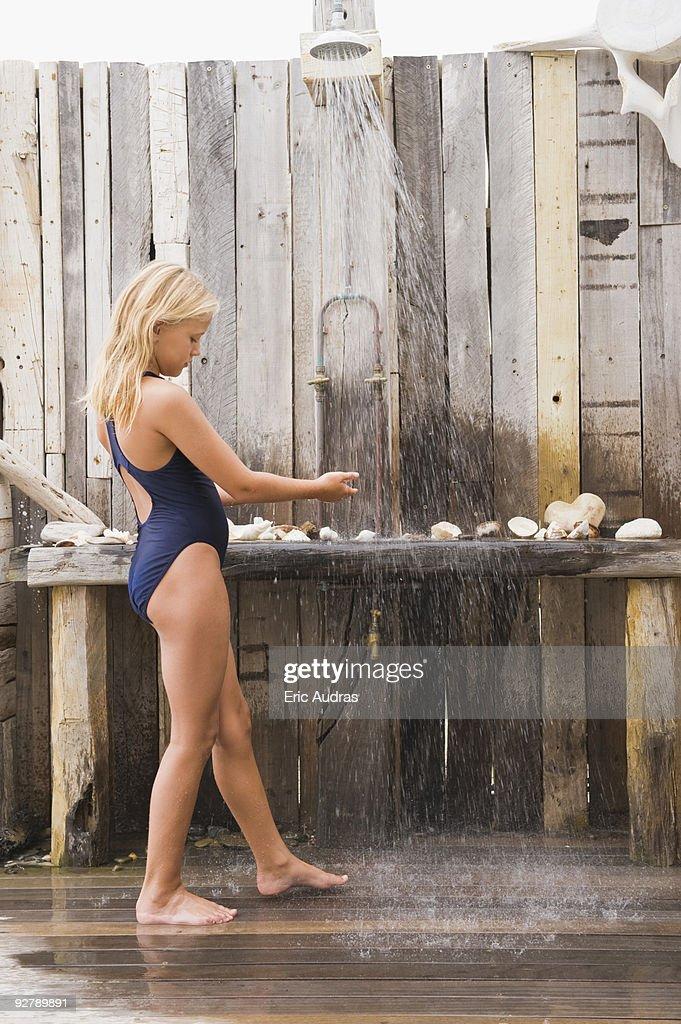 Girl beach shower