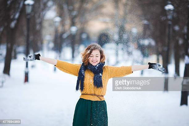 Girl under the snow