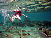 Girl underwater with fish