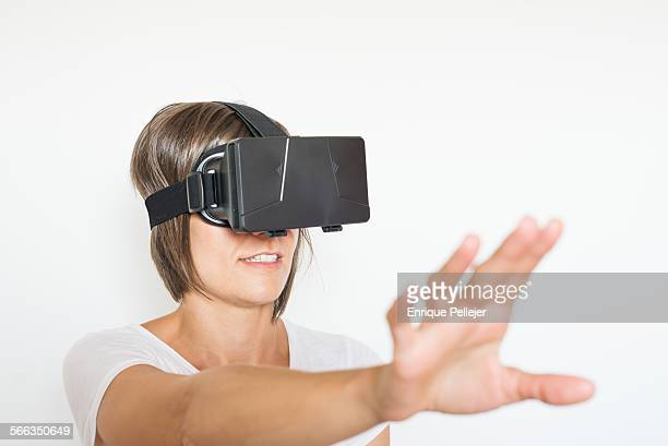 Girl using a VR headset