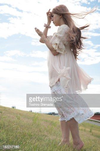 Girl using smartphone : Stock Photo
