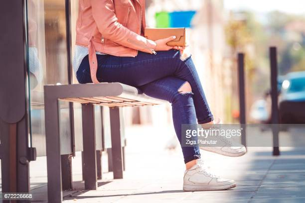 Girl waiting at the station