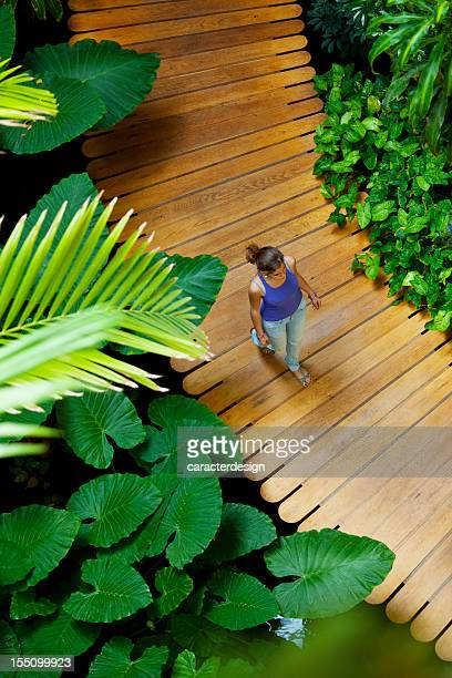 Girl walking in tropical garden