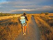 Girl walking on Camino de Santiago