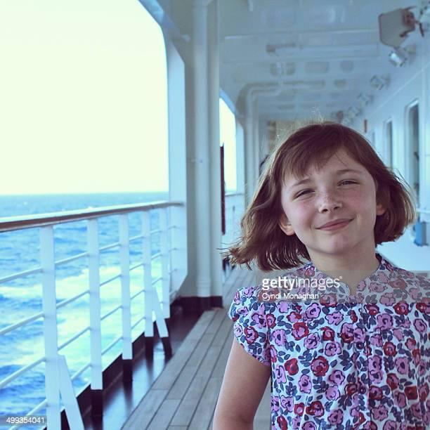 Girl Walking Promenade of Ship