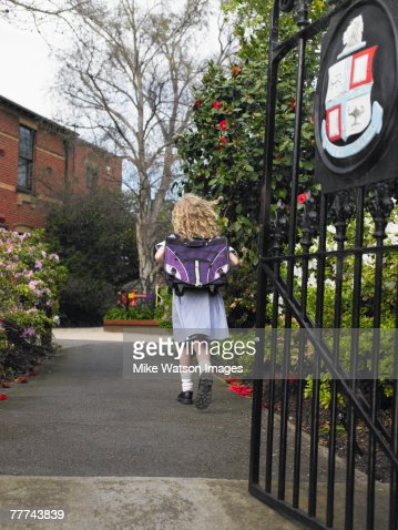Girl Walking to School : Stock Photo