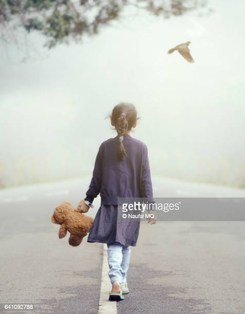 Girl walking with brownie on road