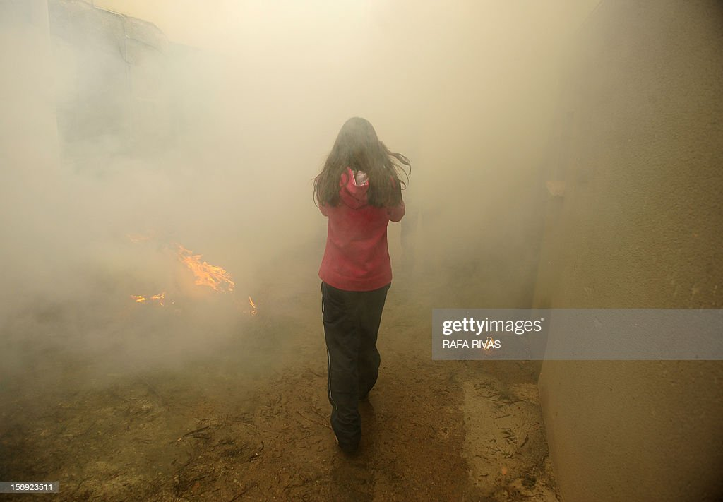 A girl walks through the smoke of a bonfire with rosemary, on November 25, 2012, in the northern Spanish village of Arnedillo prior to celebratring the 'Procession of smoke'. Locals light bonfires to produce smoke that covers Arnedillo streets while the patron saint San Andres is carried in procession.