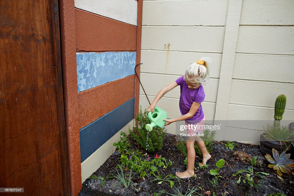 Girl watering vegetable garden stock photo getty images for Watering vegetable garden