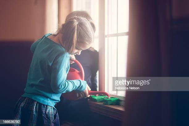 girl watering vegetable seeds
