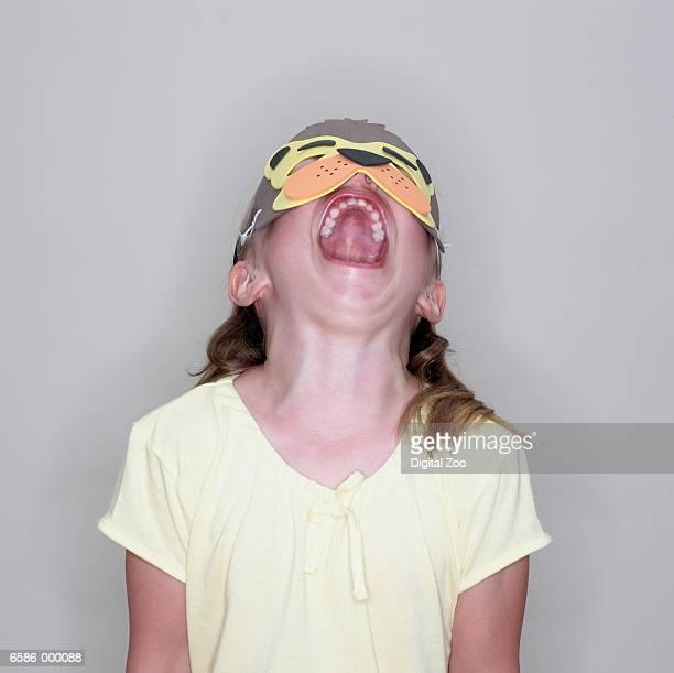 Girl Wearing Animal Mask