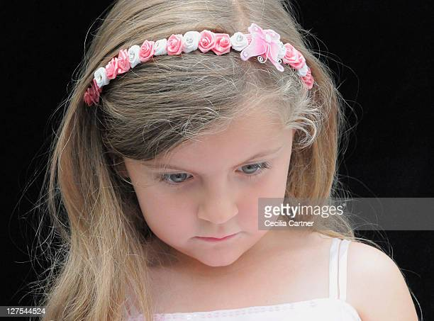 Girl wearing flower headband