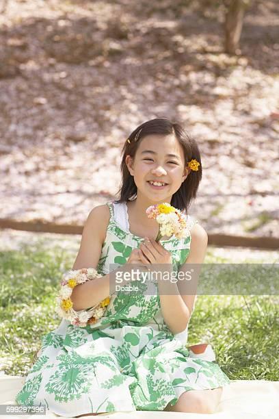 Girl wearing flowers, Chiba Prefecture, Honshu, Japan
