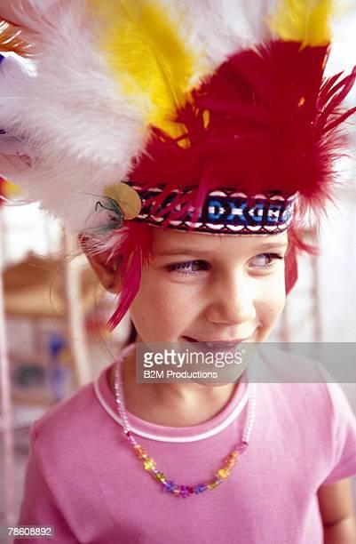 Girl wearing headdress