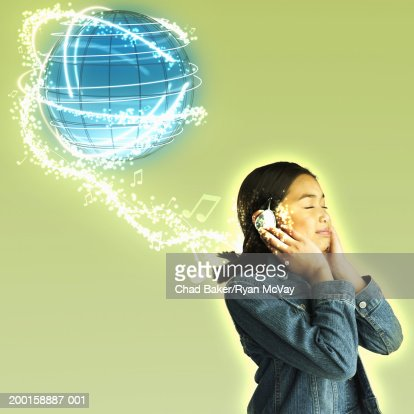 Girl (8-10) wearing headphones, globe above head (Digital Composite)