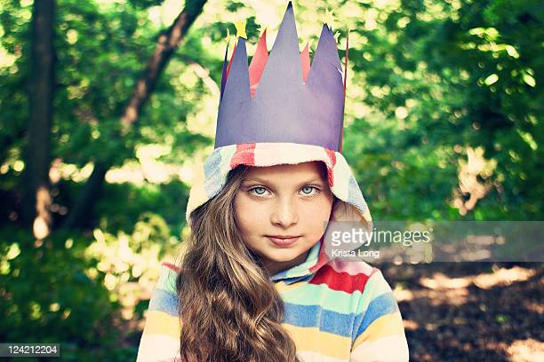 Girl wearing homemade crown