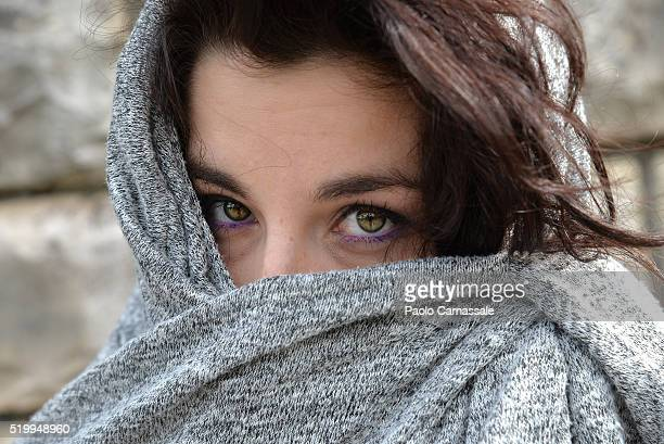 Girl wearing scarf