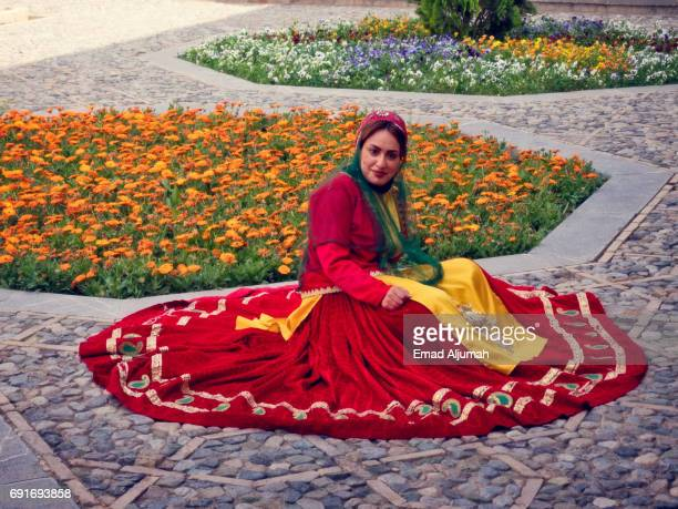 Girl wearing traditional dress in Kashan, Iran - April 28, 2017