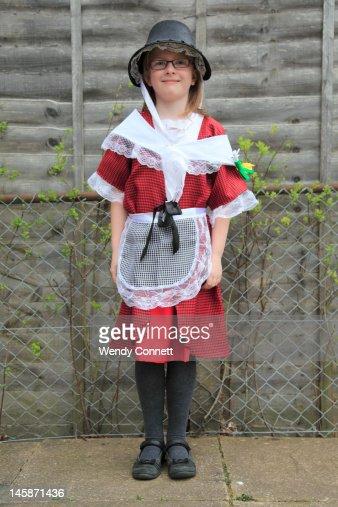 Girl wearing traditional Welsh dress