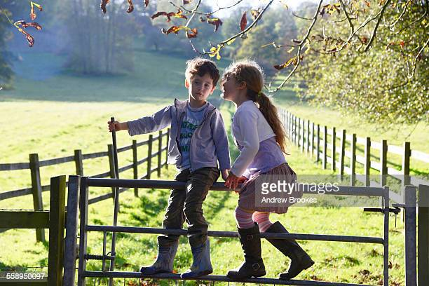 Girl whispering to twin brother whilst climbing over footpath gate
