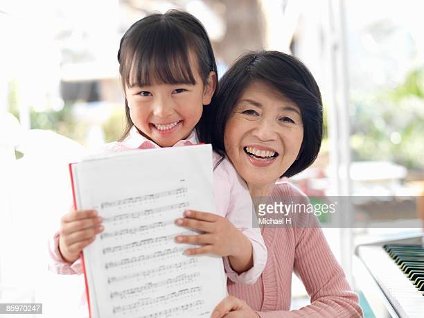 Girl who has music and grandma