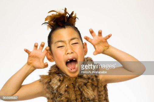 Girl who imitates the beast : Stock Photo