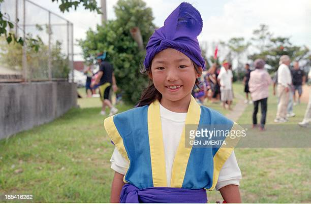 Girl who wear on Okinawa's traditional