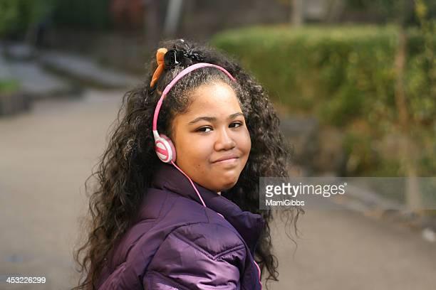 Girl with a earphone