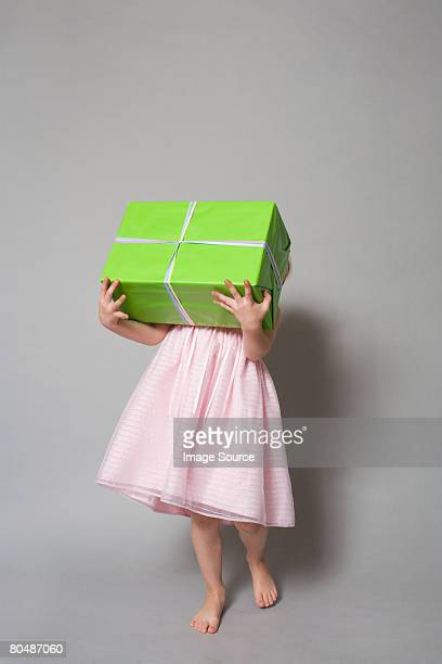 Girl with a large present