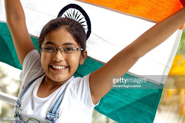 Girl with an Indian Flag