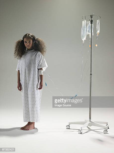 Girl with an intrvenous drip