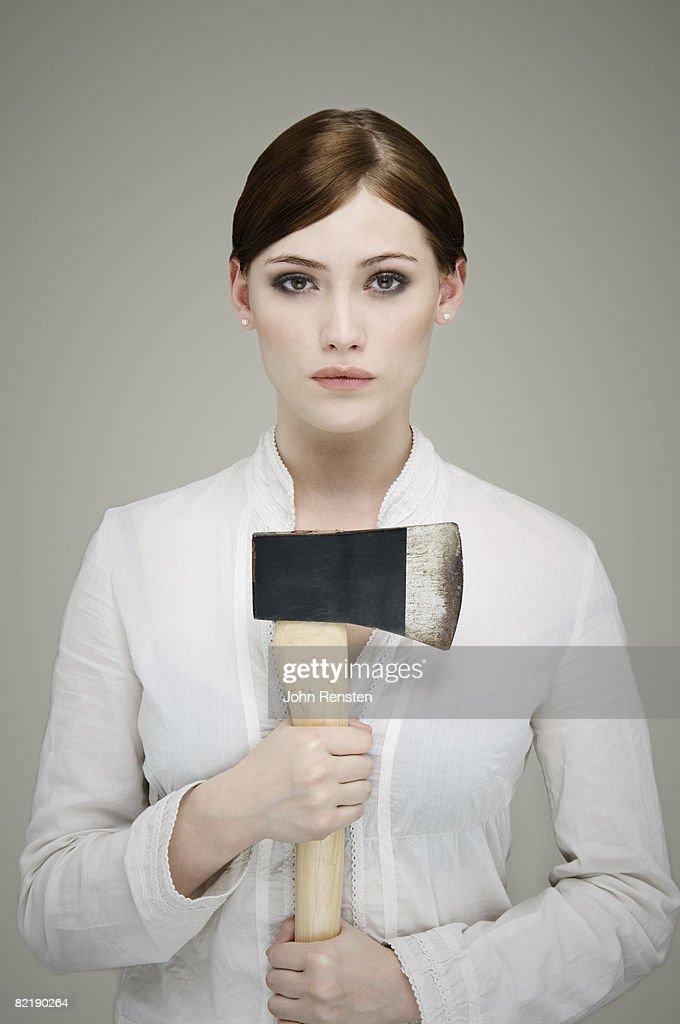 girl with axe : Stock Photo