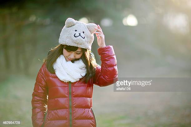 girl with bear hat