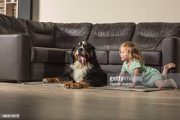 Girl with Border Collie relaxing by sofa in living room