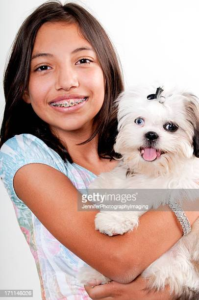 Girl with Braces and her dog