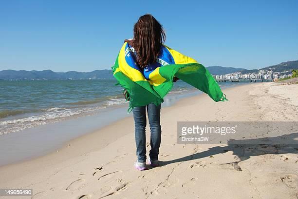 Girl with Brazil flag