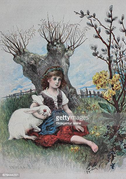Girl with bunny easter woodcut historic engraving