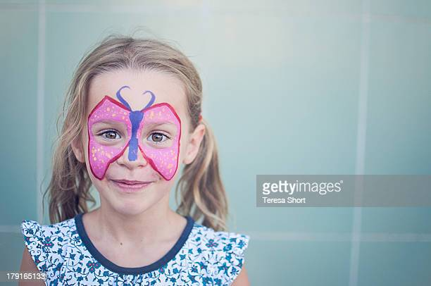 Girl with Butterfly Painted on Face