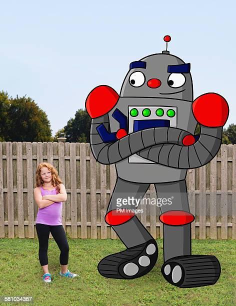 Girl with cartoon robot friend