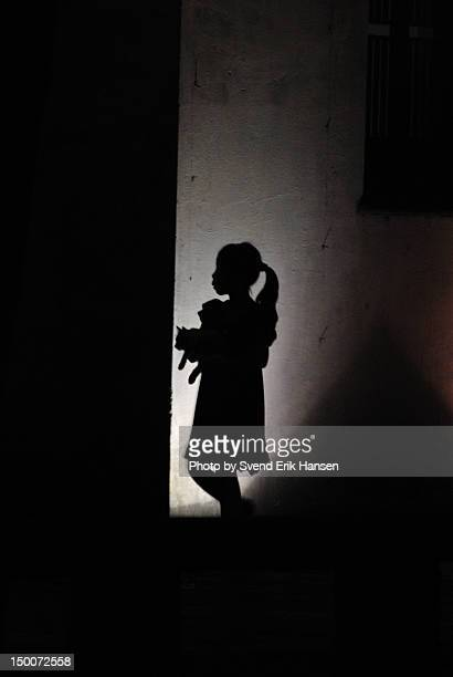 Girl with cat silhouette