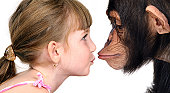 Girl with chimpanzee, Portrait