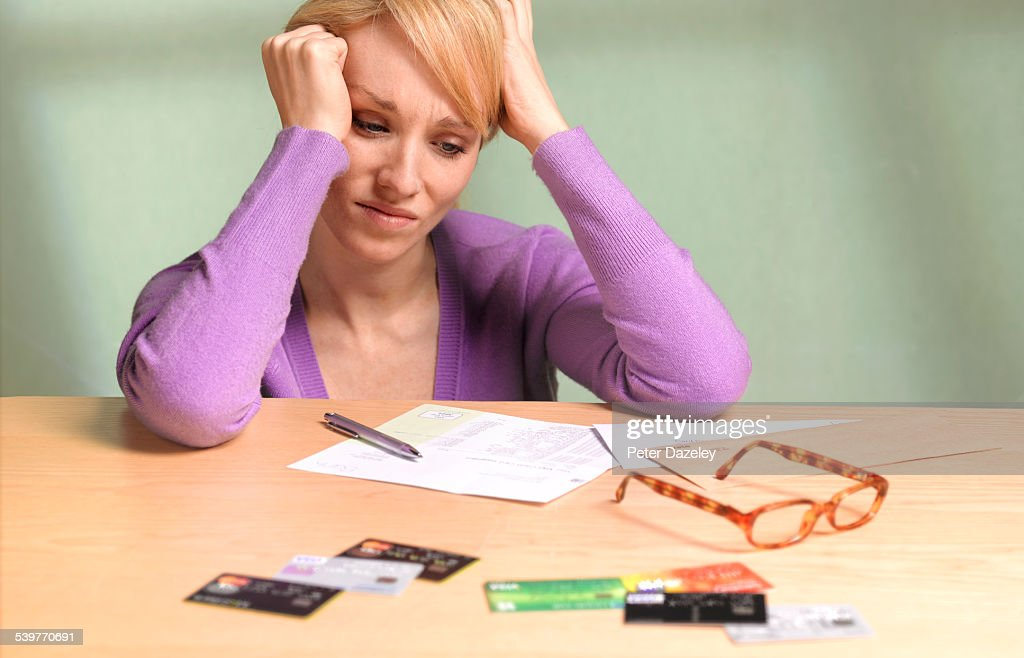 Girl with debt and depression