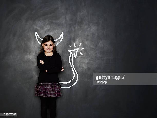 Girl with devil horns and tail