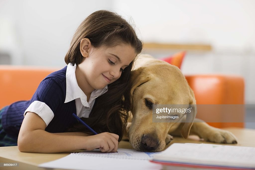 Girl with dog and homework : Stock Photo