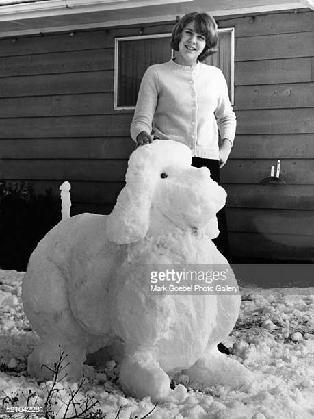 Girl with dog snow sculpture late 1950s or early 1960s