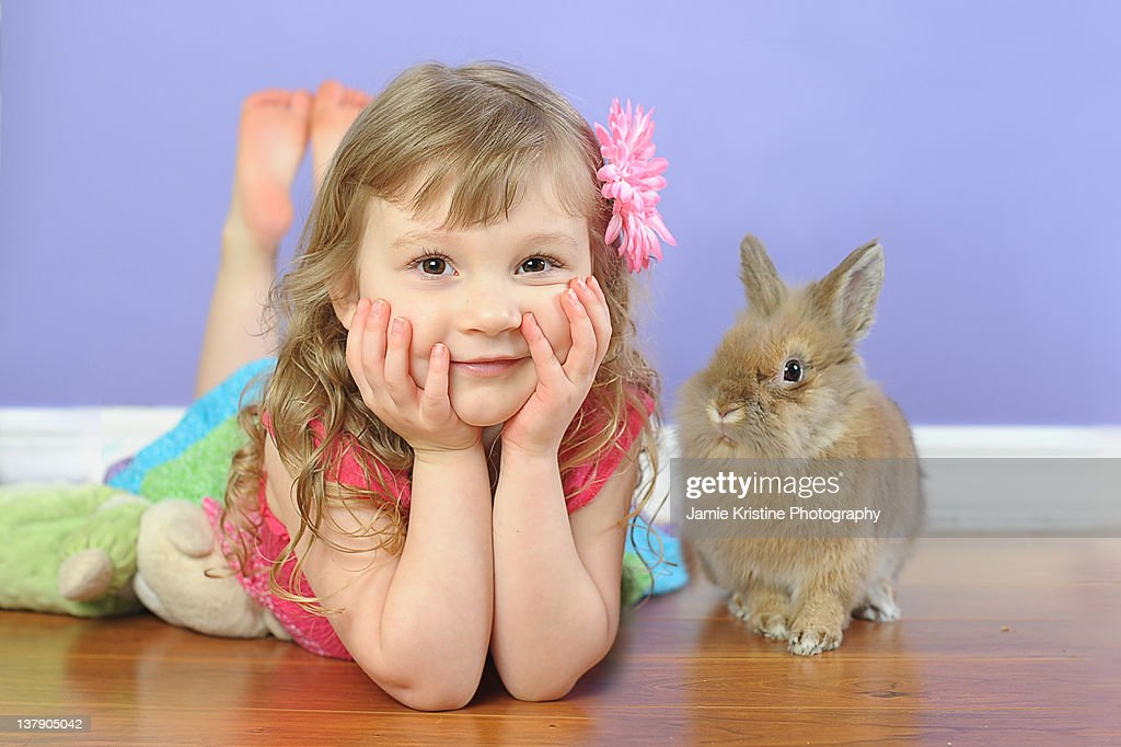Girl with Easter Bunny : Stock Photo