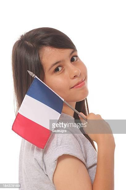 Chica con bandera francesa