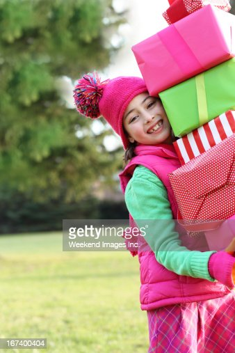 Girl with gifts : Stock Photo