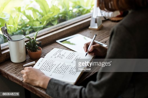 Girl with Glasses Sitting Wooden Table Workplace : Stock Photo