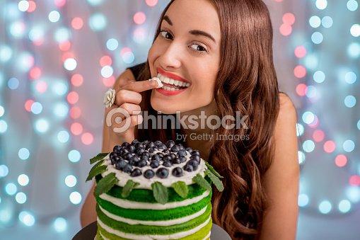 Girl With Happy Birthday Cake Stock Photo